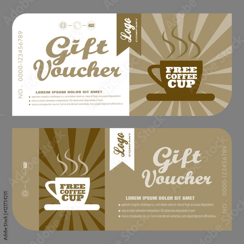 Blank Of Vector Gift Voucher To Increase Sales Of Coffee In Cafe