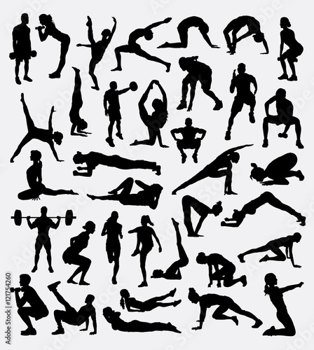 Fitness Sport Activity Male And Female Exercise Silhouette Good Use For Symbol Logo