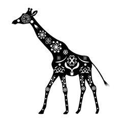 Silhouette of a giraffe with ancient traditional patterns and or