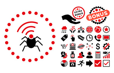 Radio Spy Bug icon with bonus pictograph collection. Vector illustration style is flat iconic bicolor symbols, intensive red and black colors, white background.