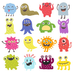 Cute monster color character funny design element. Humour emoticon fantasy monsters unique expression sticker isolated. Alien sticker vector fantasy monsters paint crazy animals.