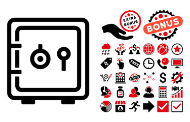Safe pictograph with bonus design elements. Vector illustration style is flat iconic bicolor symbols, intensive red and black colors, white background.