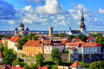 Medieval old town of Tallinn, Estonia Wall mural