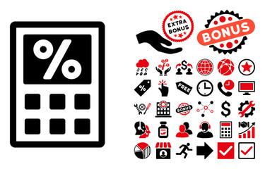 Tax Calculator pictograph with bonus images. Vector illustration style is flat iconic bicolor symbols, intensive red and black colors, white background.