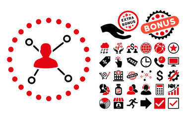 User Relations icon with bonus pictogram. Vector illustration style is flat iconic bicolor symbols, intensive red and black colors, white background.
