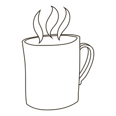 Mug with hot tea icon in outline style isolated on white background. Drink symbol vector illustration