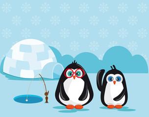 Pinguins pescando próximo a um iglu