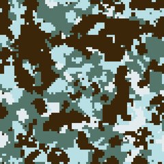 Seamless fashion blue and brown snow digital pixel camouflage pattern vector