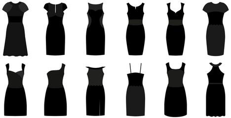 Set of twelve different elegant and expensive cocktail dresses