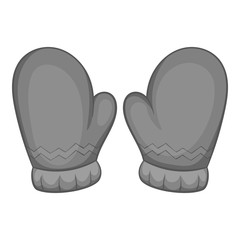 Mittens icon in black monochrome style isolated on white background. Accessory symbol vector illustration