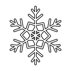 Snowflake icon in outline style isolated on white background. New year symbol vector illustration