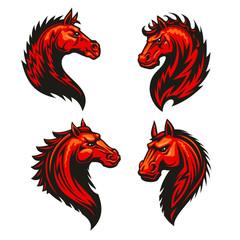 Fire horse head heraldic icons set