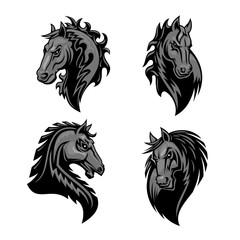 Furious powerful horse head heraldic icons