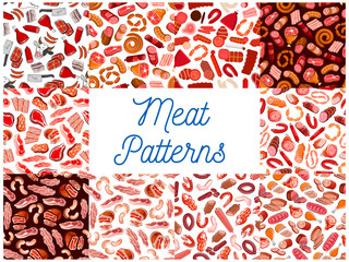 Meat and sausages seamless patterns