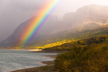 Wall Mural - Rainbow Fall Color Sherburne Lake Many Glacier National Park Mon