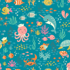 Happy underwater life pattern