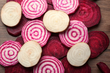 Fresh sliced beetroot, closeup