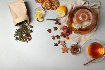 Ingredients for tea drinking, flat lay