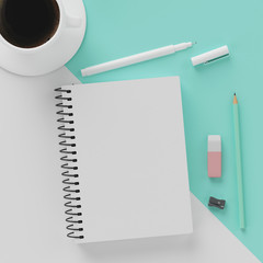 Minimal work space : sketchbook , a cup of coffee , rubber , white pen and green pastel pencil on...