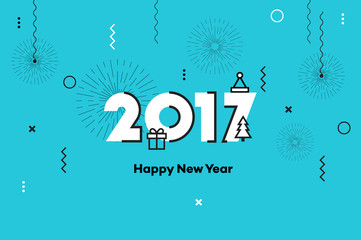 Happy New Year 2017. Memphis Style Text Design. Flat Vector Illustration.