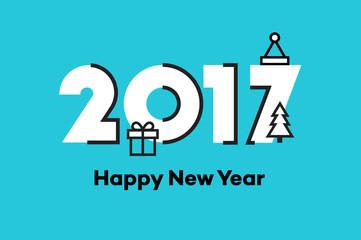 Happy New Year 2017. Text Design. Flat Vector Illustration.