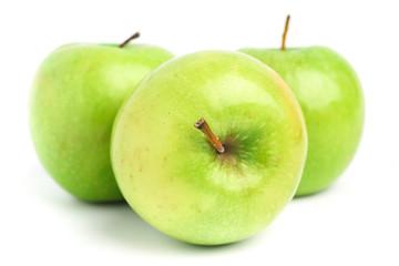 Green apple fruit on white background