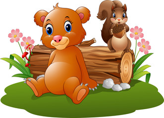 Cartoon baby brown bear with squirrel in the forest