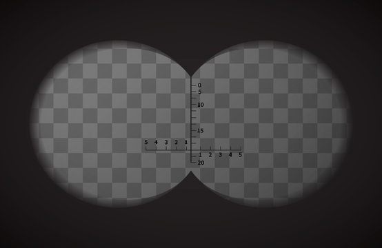 View from the binoculars on transparent background