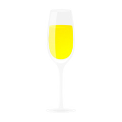 Glass of champagne. Alcohol drink. Isolated on white vector illustration. Cartoon style.