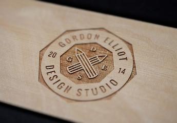 Wood Engraved Logo Mockup 01