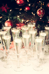 Fototapete - Glasses of champagne with Christmas tree background. Many glasse