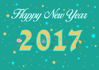 Happy New Year 2017. Floral decor