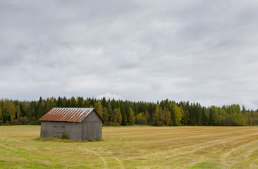 An old barn in the field. Barn is composed to the left. Cloudy sky.