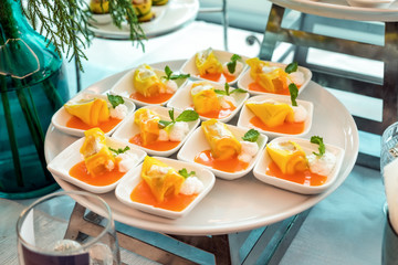 Cocktail meeting party with fruit dessert elegant decorated