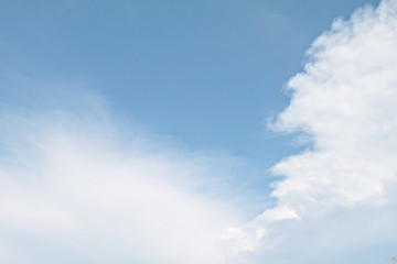 Blue sky background with white clouds closeup, sky daylight, natural sky composition