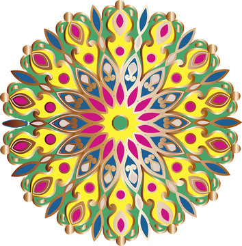 Drawing of a floral mandala in gold, pink, yellow, green and blue colors on a white background. Hand drawn tribal  vector stock illustration