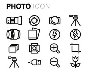 Vector black line photo icons set