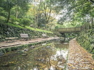 Scenery with the bench / Kakitagawa park