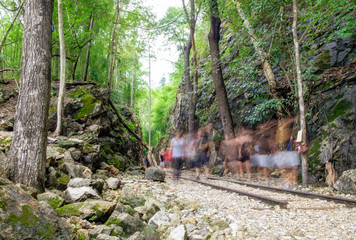 Valley strait history of world war II, blur tourists walking in hellfire pass,kanchanaburi