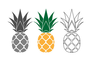Pineapple with leaf icons set. Tropical fruits isolated on white background. Symbol of food, sweet, exotic summer, vitamin, healthy. Nature logo. Flat concept. Design element Vector illustration