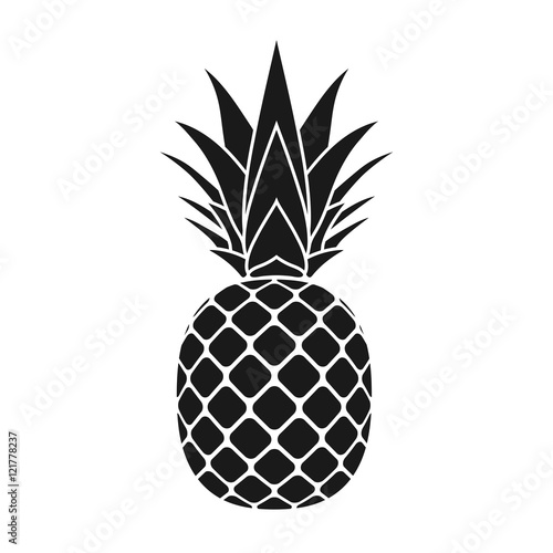 Quot Pineapple With Leaf Icon Tropical Fruit Isolated On