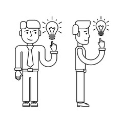 Man pointing at idea light bulb. Black and white funny businessman stands on white background and points and idea. Concept of new ideas, solution and creativity.