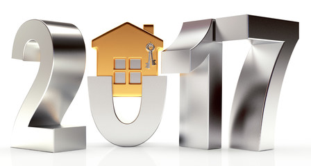 Silver 2017 New Year with golden house on white background. 3D illustration