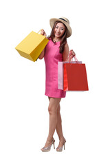 Portrait of young happy smiling asian woman with hat and shopping bags