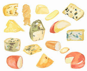 Watercolor cheese set on white background. All kinds of cheese as camembert, roquefort, blue cheese. Tasty and healthy snack.