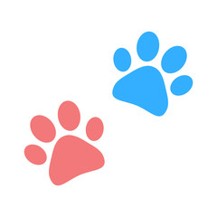 Paw print vector pink and blue
