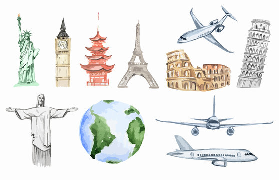 Watercolor world travel set. All sightseeing from all over the world as big ben, liberty statue, Colosseum and more. Airplanes.