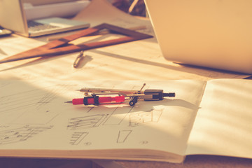 Architectural plans and tools.