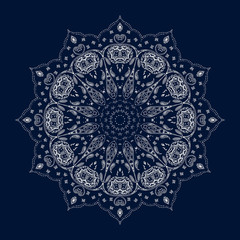 Paisley Mandala. Ethnic Stylized Print. Indian Decoration. Floral Ornament