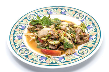 Grilled pork neck spicy salad,Thai food